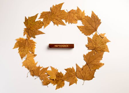 Autumn composition. Wreath made autumn leaves on gray background. Autumn, fall, thanksgiving day concept. Flat lay, top view, copy space