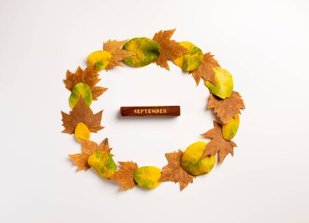 Autumn composition. Wreath made of autumn leaves on gray background. Autumn, fall, thanksgiving day concept. Flat lay, top view, copy space