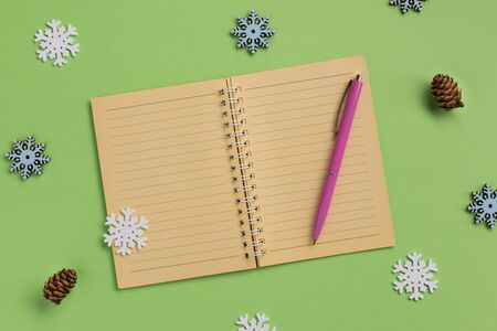 New Year or winter planning concept. Open notebook and snowflakes, on green background. Flat lay, top view, copy space. Banque d'images