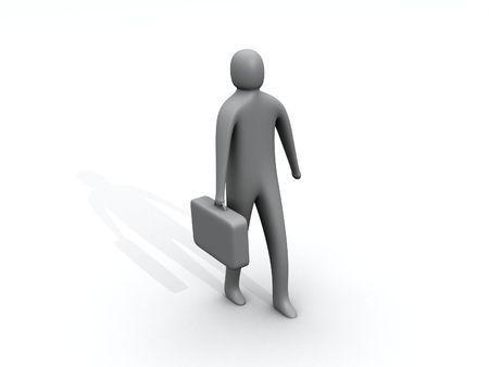 3d person: 3d persona que ocupe un cargo maleta  Foto de archivo