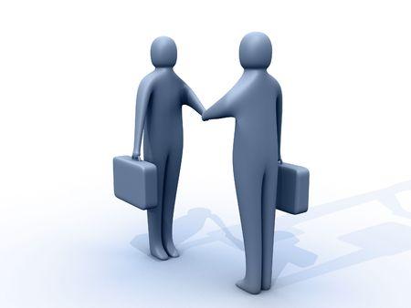 pacto: 3d empresarios darle la mano  Foto de archivo