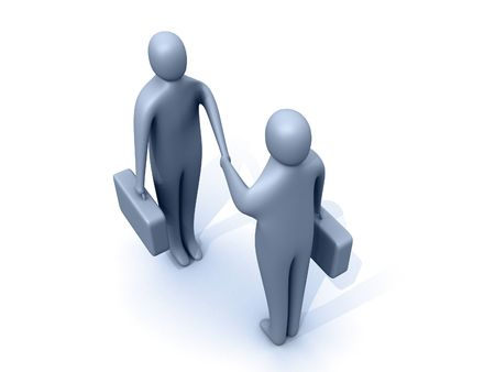 pacto: 3d empresarios estrechar la mano