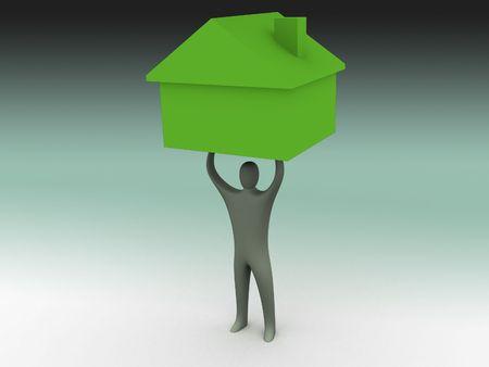 persona 3d que sostiene una casa sobre su cabeza Foto de archivo