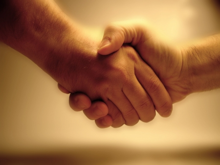 humanities: A handshake Stock Photo