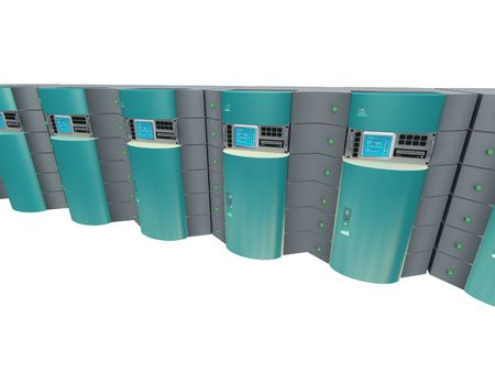renderfarm: Blue 3d servers. Stock Photo
