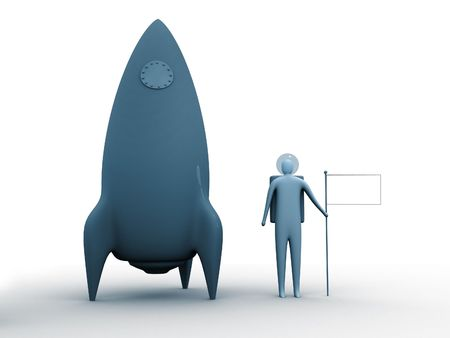 3d person next to a rocket holding an empty flag for you to place whatever you like. (logo,country flag, sign etc.) photo