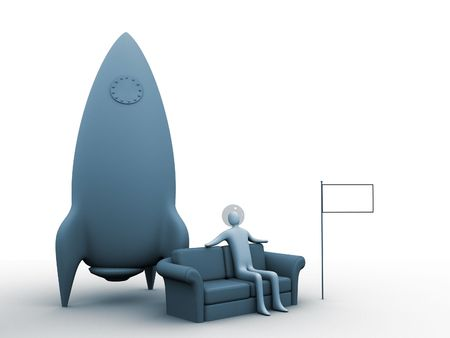3d astronaut relaxing on a sofa. Flag is empty for you to fill with anything you like. (logo, country-flag, sign etc.) photo