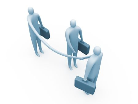 prevail: flexible 3d business-man managing to close the deal first. Stock Photo