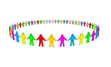 multicolored 3d people in a circle.