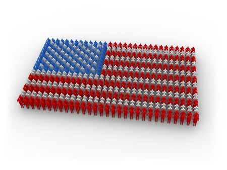 3d, colored people shaping the US flag.