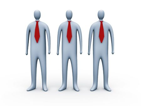 constitutionality: 3d people with red ties