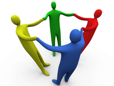 four hands: 3d people holding hands #3. Stock Photo