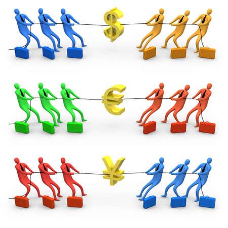 pulling money: Economy war Stock Photo