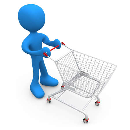 Person with shopping cart Stock Photo