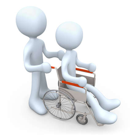 cgi: Person helping another person on a wheelchair.