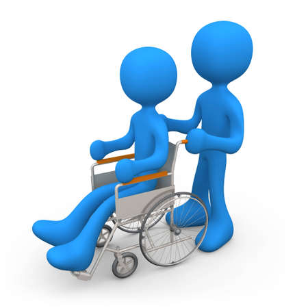 disabled person: Person helping another person on a wheelchair.