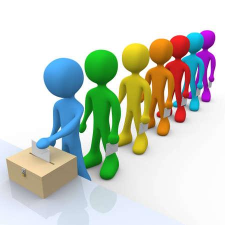 voting box: La gente che attende nella linea al voto.