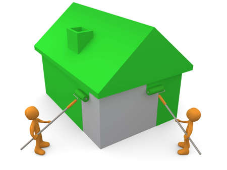 3d personas pintando una casa verde.  Foto de archivo - 816757
