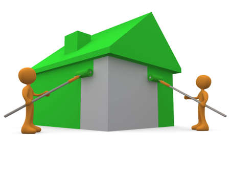 painting jobs: 3d people painting a house green.