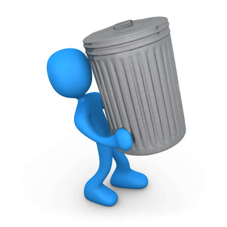 Person with trash can