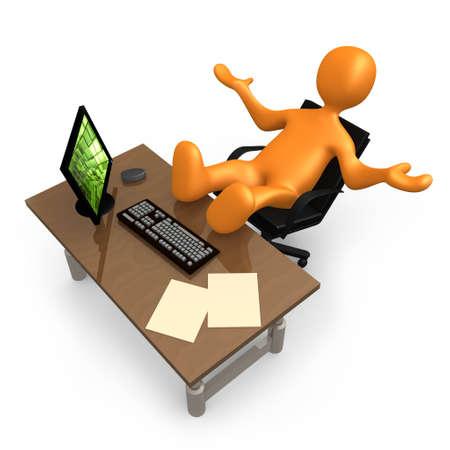 perezoso: Persona de relax con sus pies hasta el escritorio de su oficina.