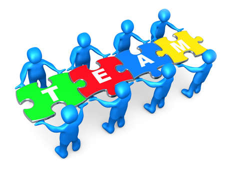 3d people holding pieces of a jigsaw puzzle with the word team. Stock Photo
