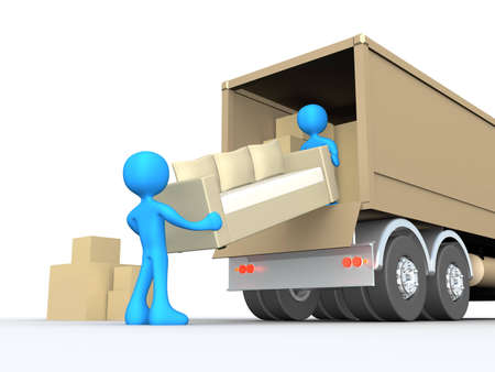 movers: Computer generated image - Moving Company . Stock Photo
