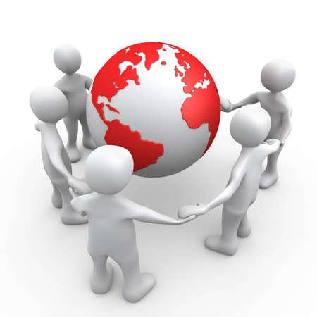 3D People Holding Hands Around A Globe . Stok Fotoğraf
