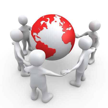 people network: 3D People Holding Hands Around A Globe . Stock Photo