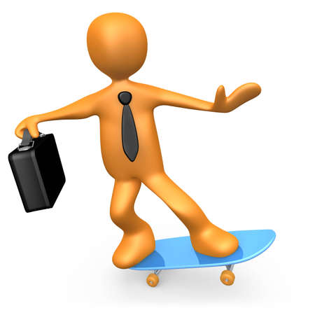 flexible business: Computer Generated Image - Businessman On Skateboard.
