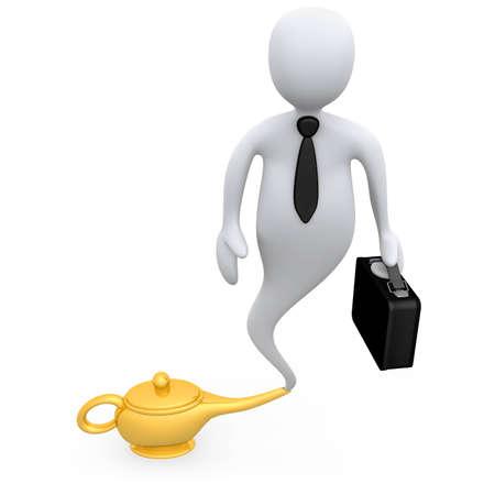 magic lamp: Business Genie Stock Photo