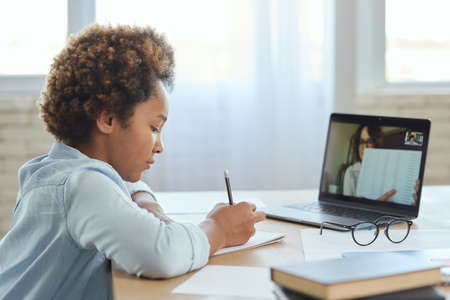 Attentive mixed race teen schoolgirl listening to her teacher, making notes during online video lesson while studying from home