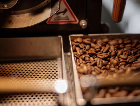 Industrial coffee roasting machine with coffee beans