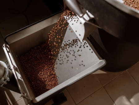 Coffee beans falling from release chute of coffee roaster machine