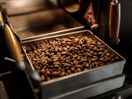 Industrial coffee roasting machine with brown coffee beans
