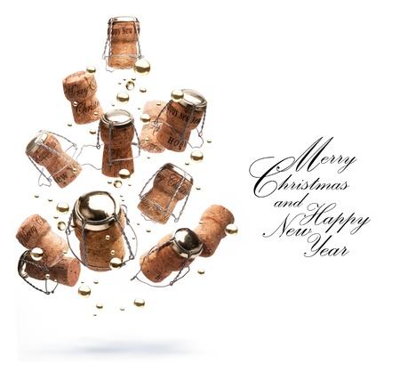 champagne cork: Art Christmas greeting card