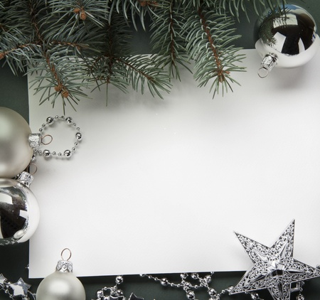 Christmas decorations (live tree, balls, star) Stock Photo