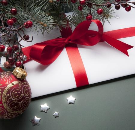 decorating christmas tree: Christmas decorations (live tree, balls, star) Stock Photo