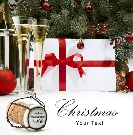 wine glass christmas: Christmas greeting card background Stock Photo