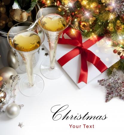 winter party: Bicchieri di champagne a Capodanno Archivio Fotografico