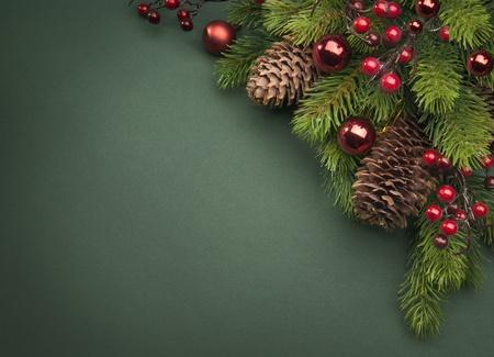 christmas tree branch: Art Christmas greeting card