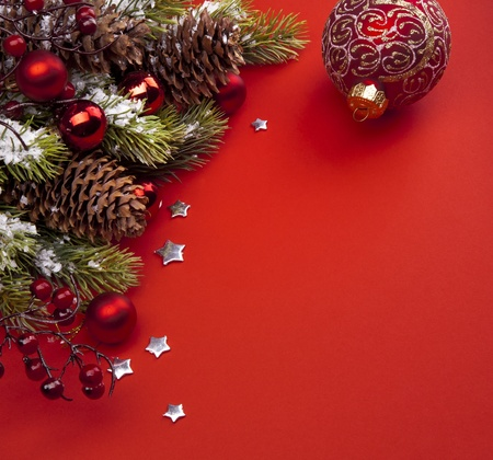 Art Christmas greeting card with red background photo
