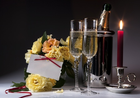 anniversary sexy: Romantic card with burning candles and champagne