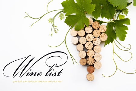 wine background: Bunch of grapes made from wine corks