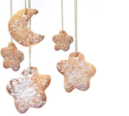galletas de navidad: Navidad del arte de tarjetas de felicitación con galletas dulces Foto de archivo