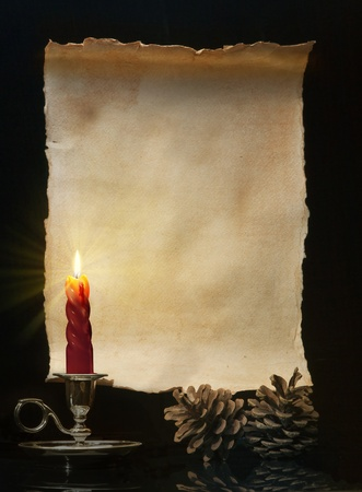Vintage roll lit a candle photo