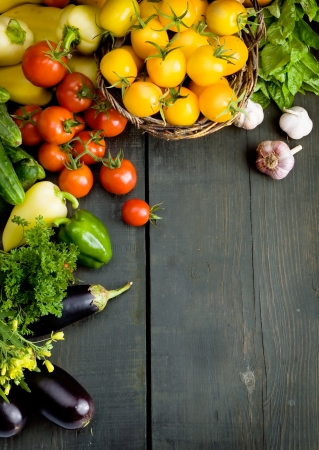 organic background: abstract design background vegetables on a wooden background Stock Photo