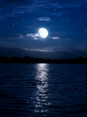 over the moon: Art Abstract night background with moon and stars over the water