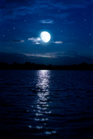 Art Abstract night background with moon and stars over the water Stock Photo - 10542101