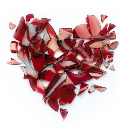 cristal roto: Arte roto corazón Foto de archivo